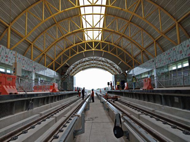 Rel Stasiun LRT Jakabaring